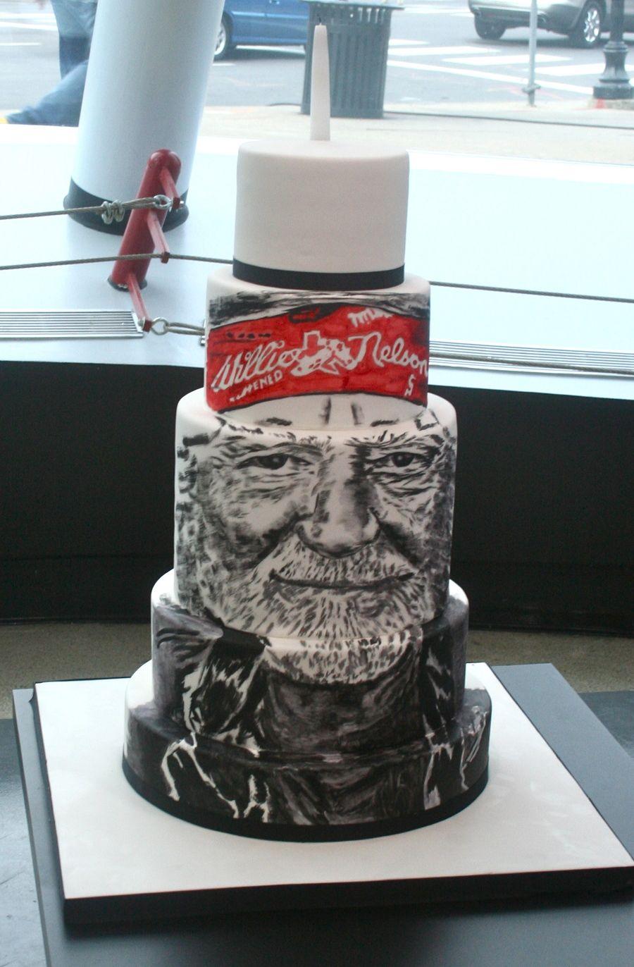 Willie Nelson Painted Birthday Cake