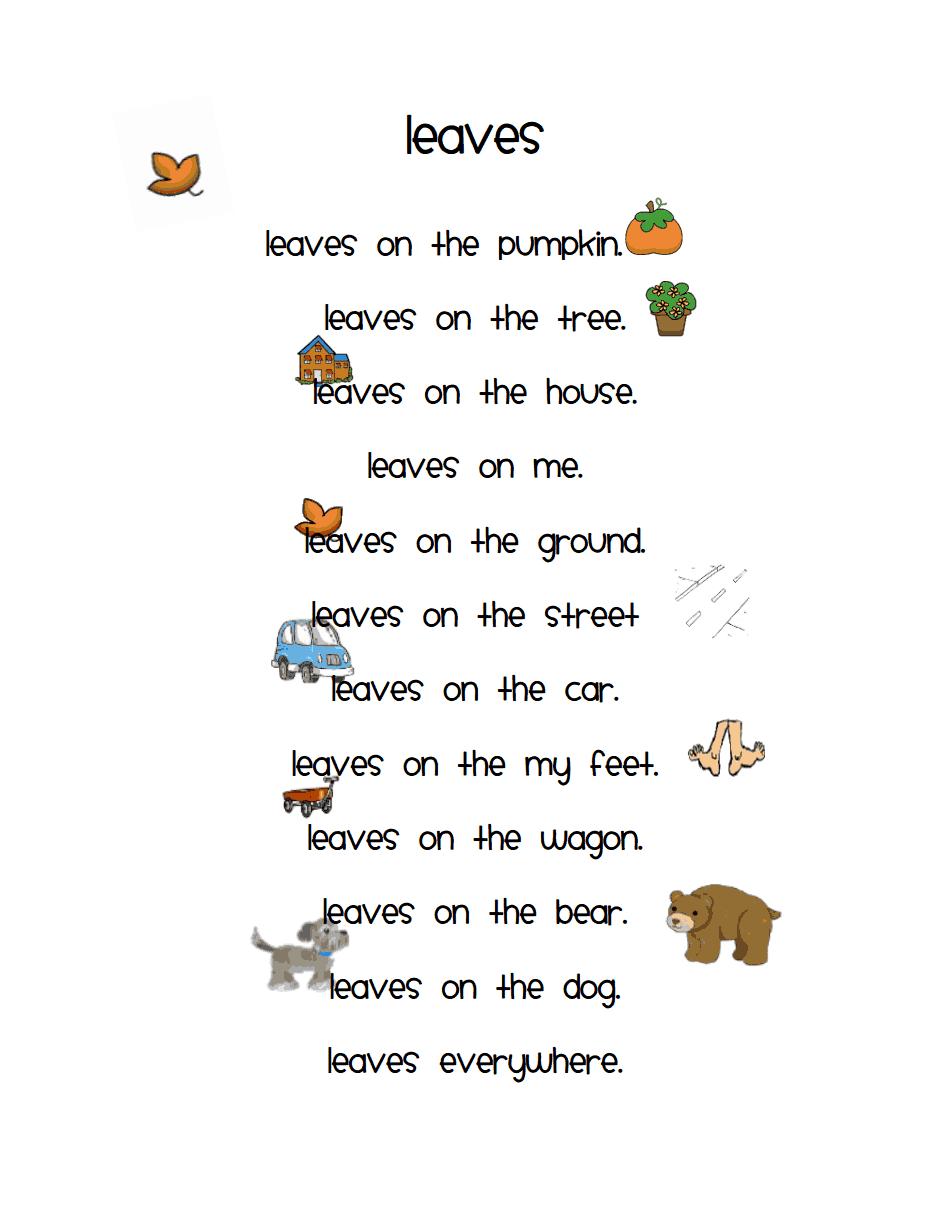 Uncategorized Thanksgiving Poem For Kids leaves pdf kindergarten klassenzimmer pinterest teaching the very busy october poems for poetry box