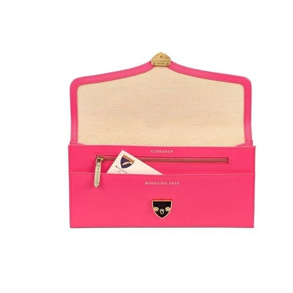 Manhattan Travel Wallet in Smooth Neon Pink (£225) ❤ liked on Polyvore