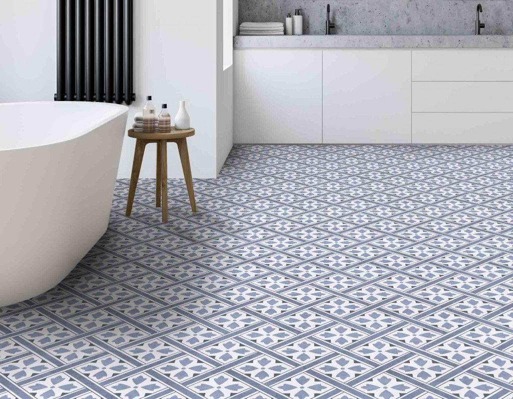 Mr Jones Blue Leaf Geometric Floor Tile In 2020 Geometric Tiles Bathroom Patterned Bathroom Tiles Geometric Floor