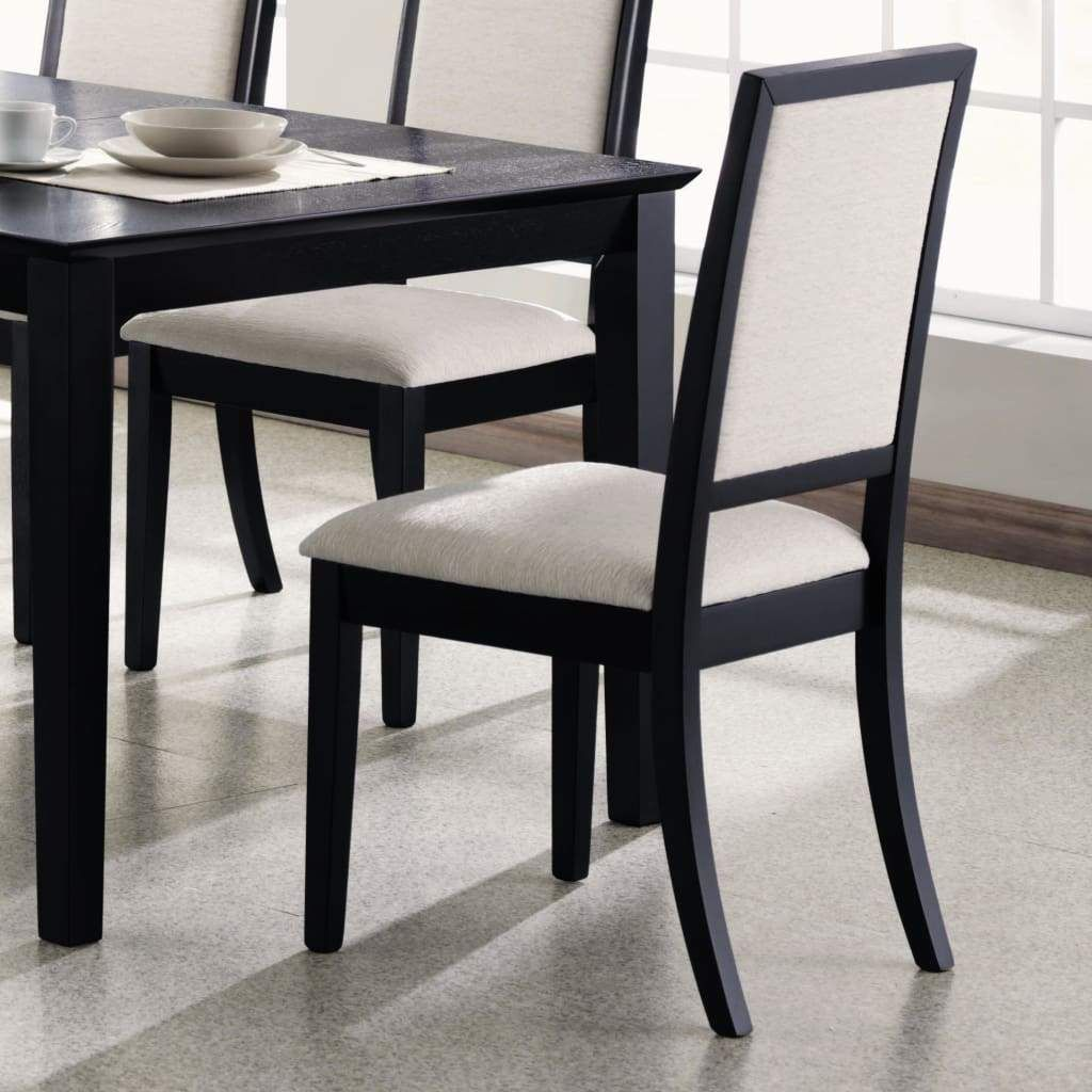 Wooden Dining Side Chair With Cream Upholstered Seat And Back