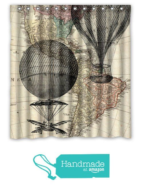 Hot Air Balloon Shower Curtain   Hot Air Balloon Bath Decor   Vintage Map  Shower Curtain