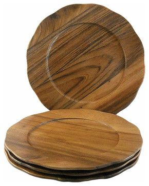 contemporary brown dishes | ... Acacia Wood Scalloped Edge Chargers, Set of 4 contemporary dinnerware