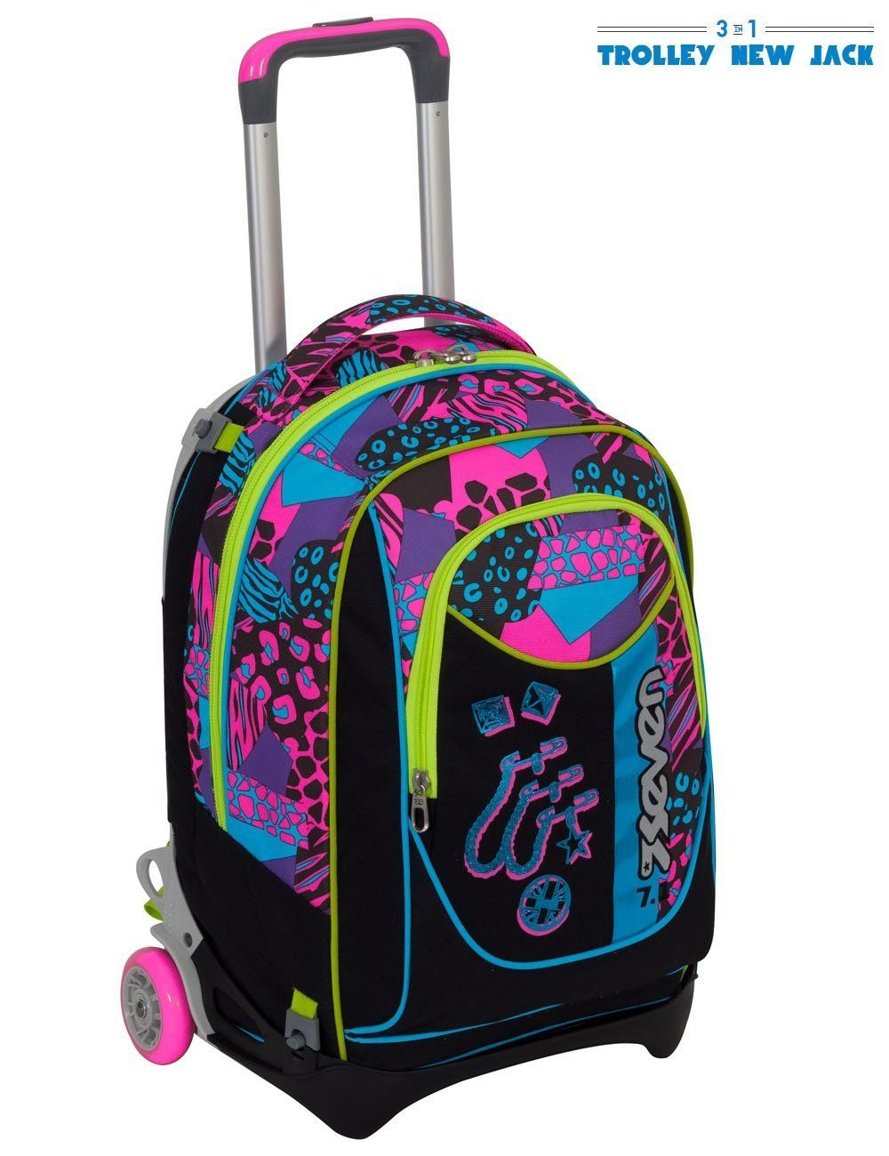 8d16bd9dd9 Trolley Seven New Jack - Swag Girl - Nero Rosa - Sganciabile e Lavabile
