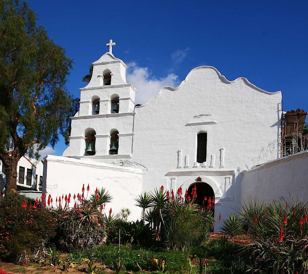 The Old Mission in San Diego. First of the California missions.