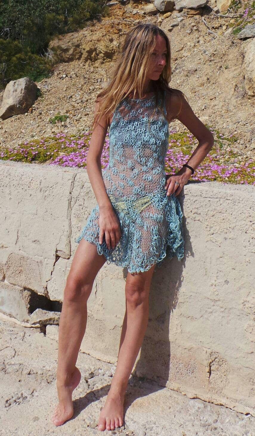 Turquoise beach dress, cover up turquoise dress, dress, knit dress, boho #crochetbeachdress