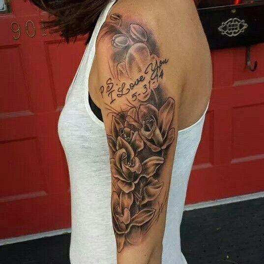 Orchid/memorial Tattoo Mom's Favorite Movie. Half Sleeve