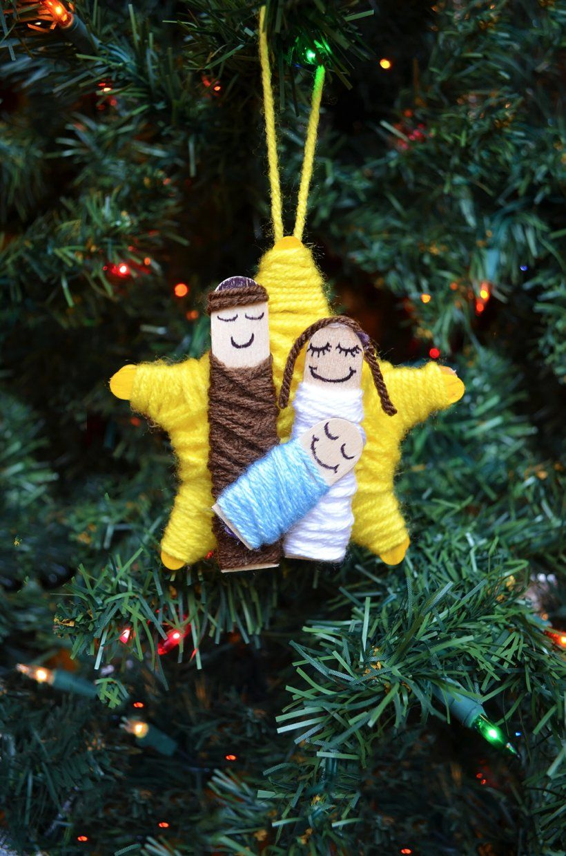 Photo of DIY Yarn Wrapped Nativity Christmas Ornament