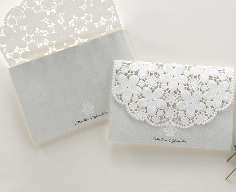 monogram wedding invitations white lace wedding invitations embossed laser cut floral 6001