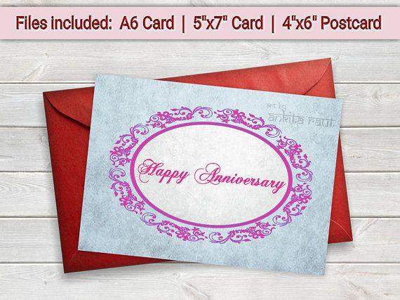 Printable anniversary card digital card rustic card printable