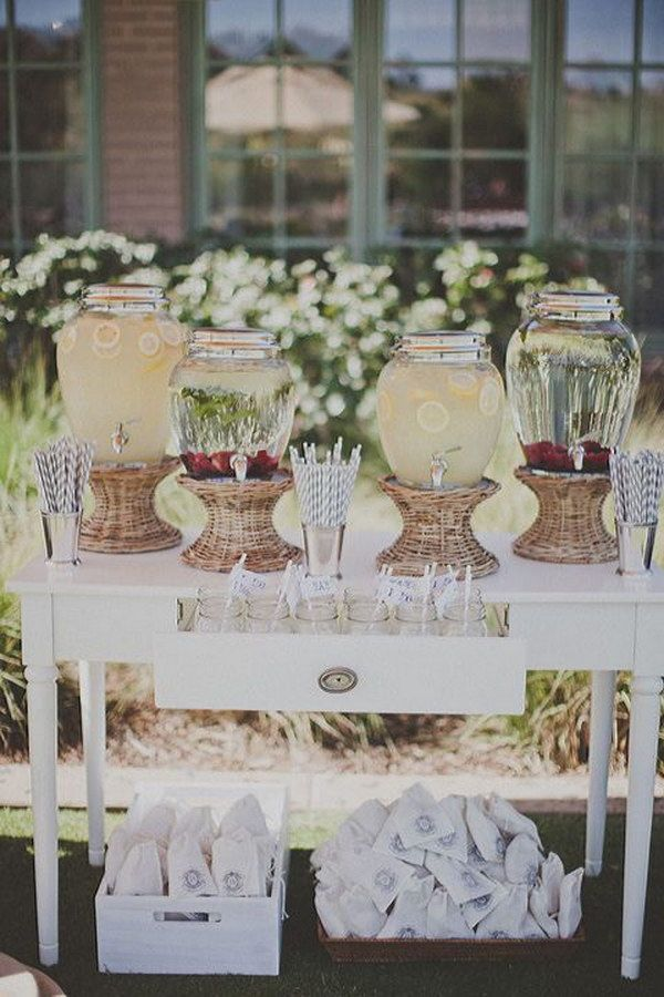 40 Creative Drink Station Ideas For Your Party Wedding Drink Station Wedding Drink Bar Wedding Drink