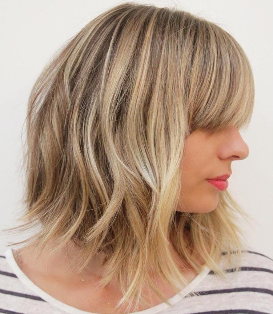 sensational medium length haircuts for thick hair blunt bangs