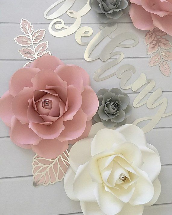 Pink And Gray Girls Room Ideas: No Name Gold Leaves) Paper Flowers Wall Decor, Paper