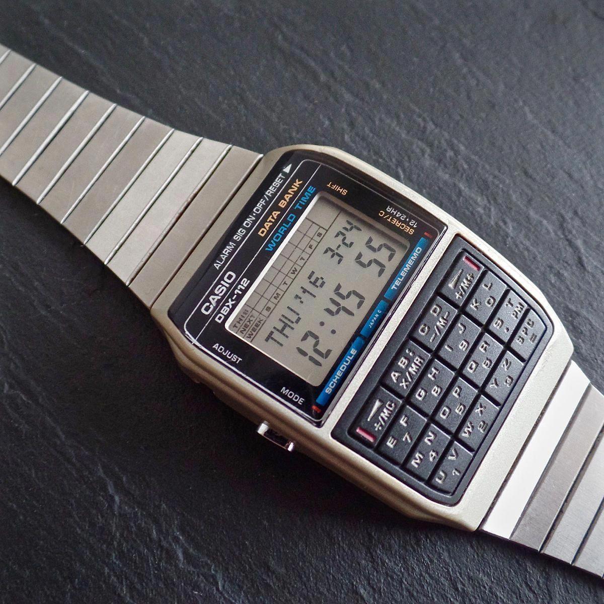 CASIO DBX 112 642 Vintage 1985 LCD Data Bank World Time  ZjMtb