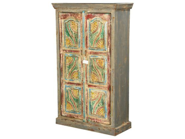 Van Gogh Swirls Solid Wood 2 Door Armoire Cabinet Mango Wood Rustic 30 Bedroom  Armoire Wardrobe