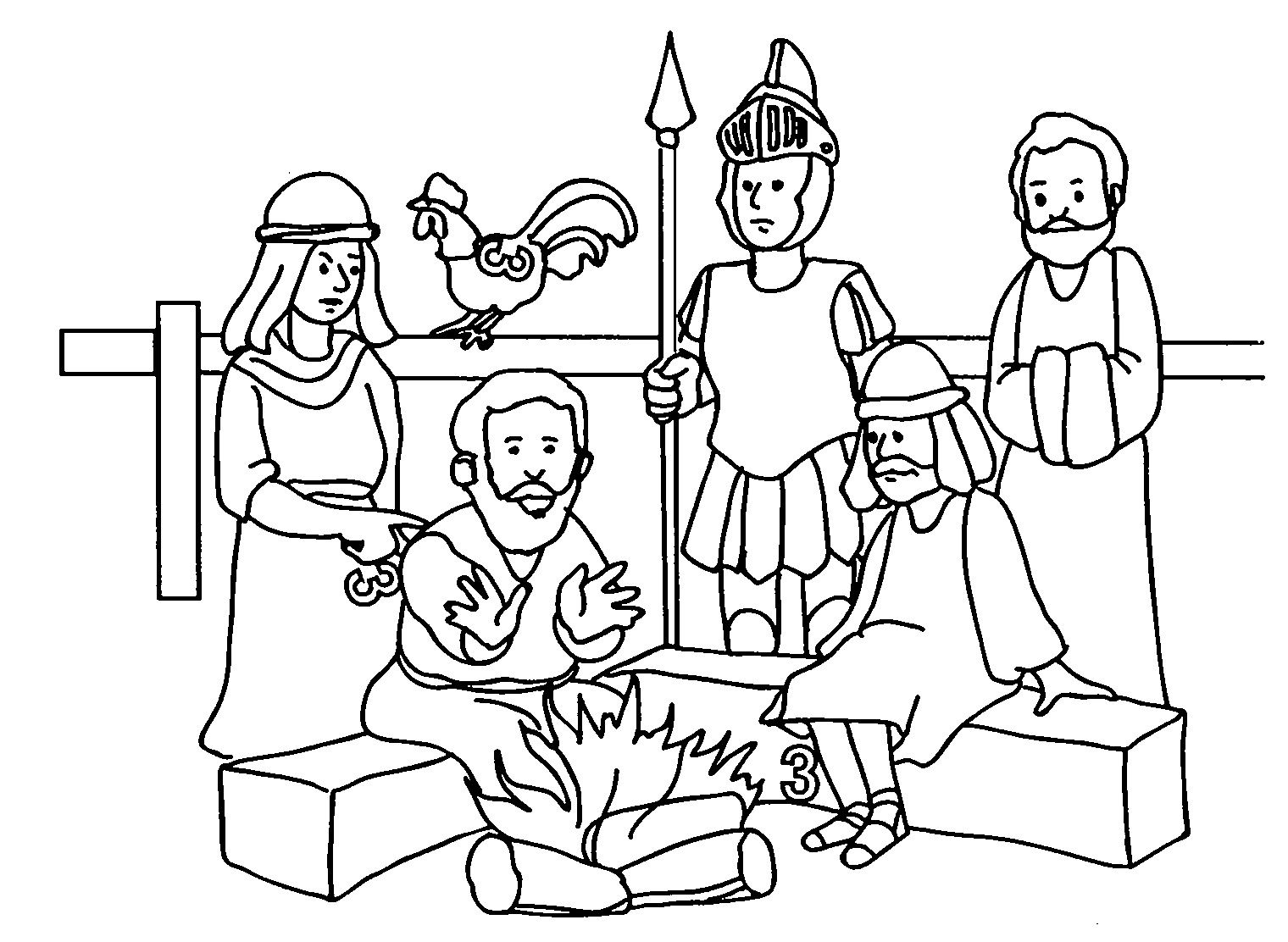 Peter Denial Jesus 3 Times Coloring Page Jpg 1520 1112 With