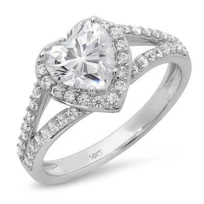Picture of 1.85 ct Heart Cut Diamond 14k White Gold or Yellow Gold Engagement Anniversary Ring
