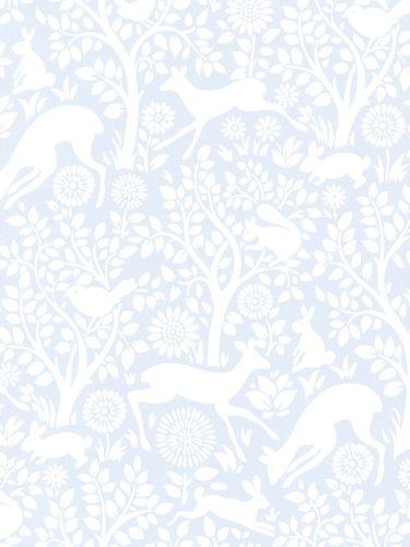 טפט חיות ביער בתכלת לבן