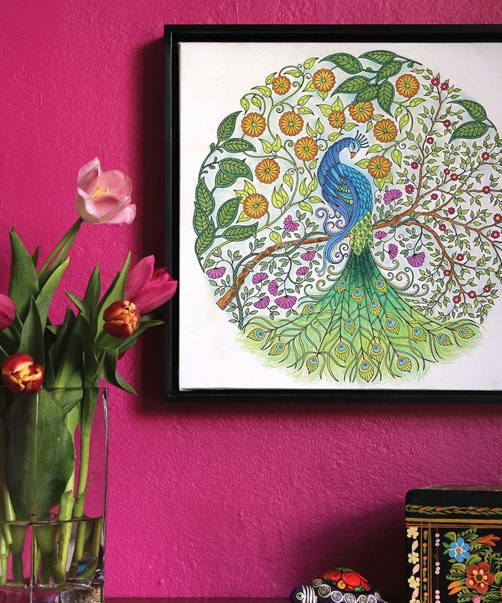 johanna basford secret garden peacock coloring canvas zulily