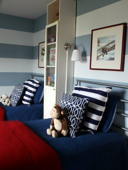 for logans room? red white and blue boys bedroom with horizontal