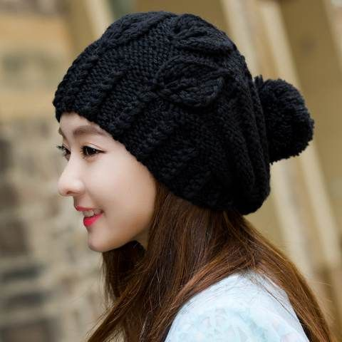 Ladies knit hat with ball in the top winter stocking caps fleece design 66a8ec33aa4