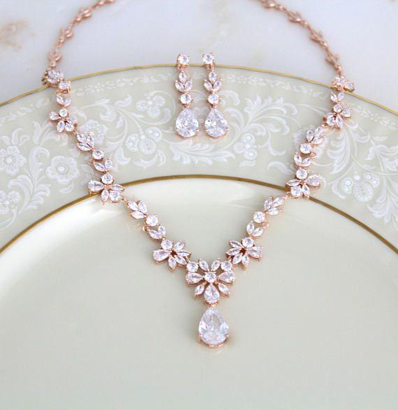 Bridal jewelry set wedding jewelry set wedding necklace bridal jewelry bridal necklace and earring set bridesmaid jewelry set MAKAYLA