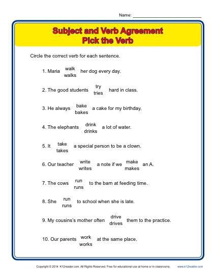 Pick the Verb Subject verb agreement, Worksheets and Activities - agreement in word