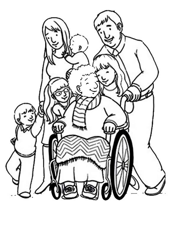 supporting people with disability coloring page - Colouring Pictures Of People