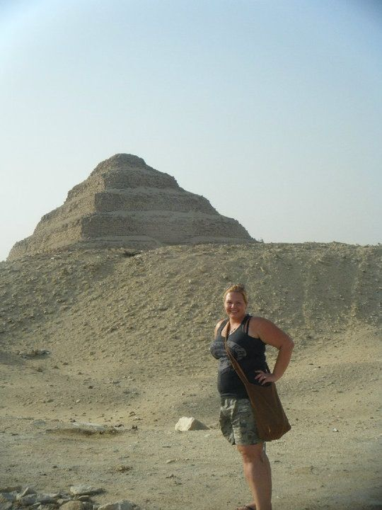 "Me in front of one of the ""queens"" pyramids still near Giza Cairo 2009"