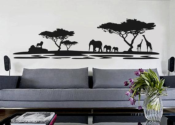 African Safari Wall Decal Vinyl Decor Art Sticker Removable Mural Modern Nature Sahari Africa A345 African Decor Vinyl Decor Decal Wall Art
