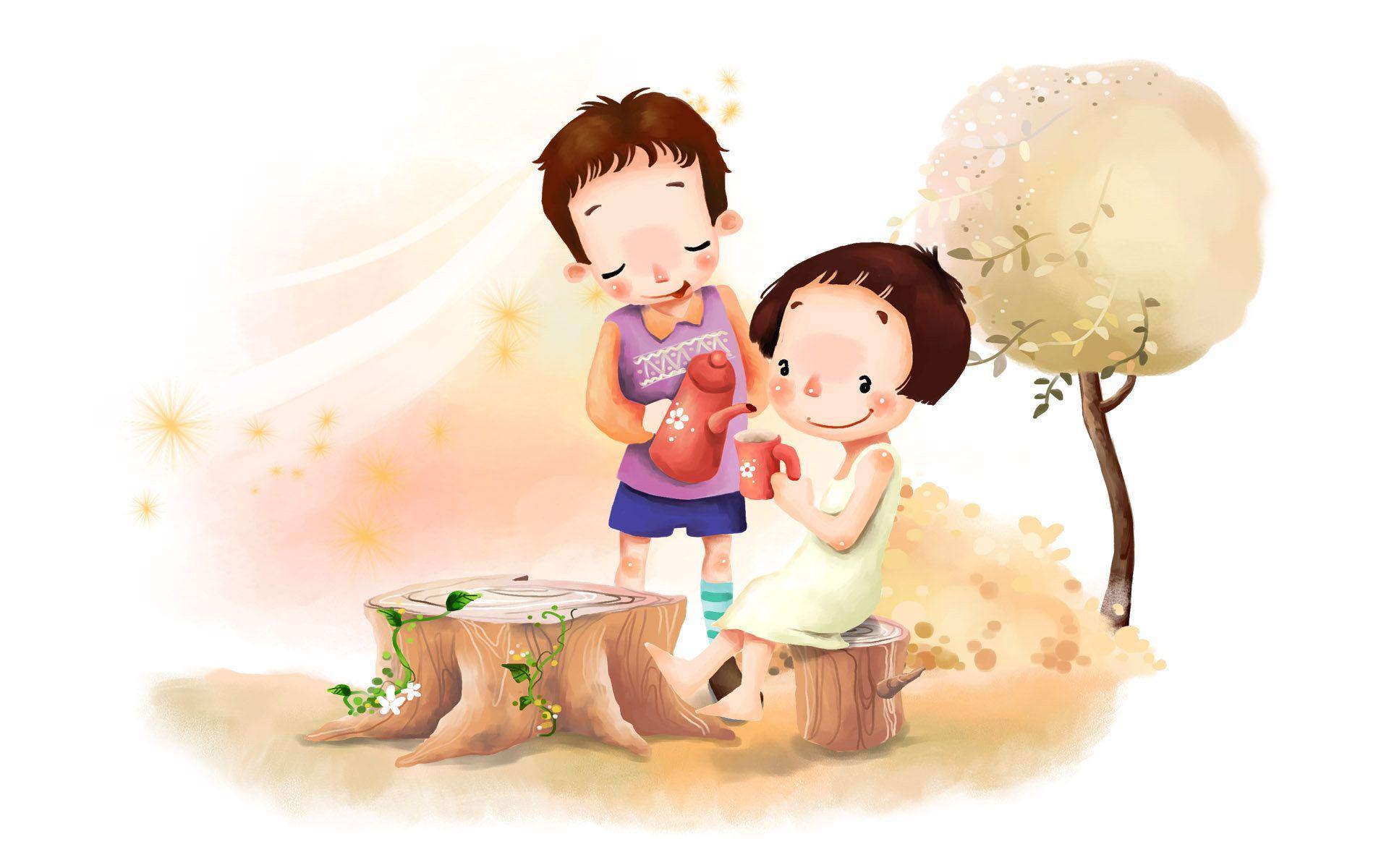 Love Couple Cute Cartoon Theme Wallpaper HD Free Desktop