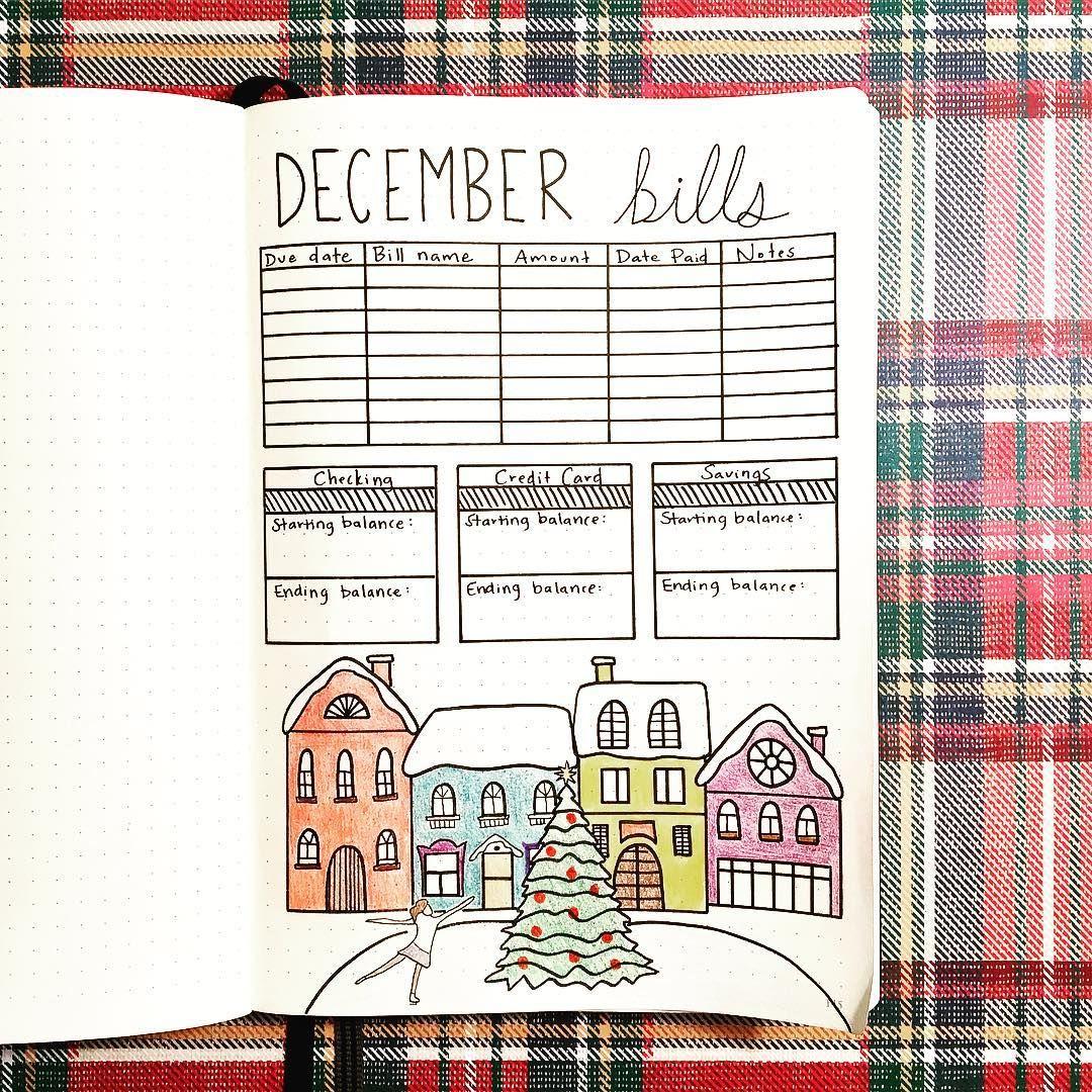 bullet journal christmas layout bullet journal bill tracker