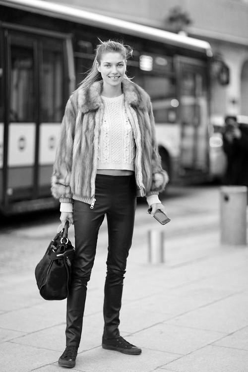 Jessica Hartduring Paris Fall/Winter Fashion Week 2014.