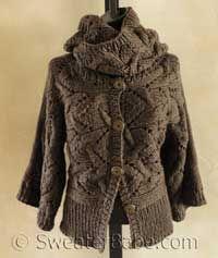 Kimono Sleeve Sideways Cardigan & Cowl Set PDF Knitting Pattern