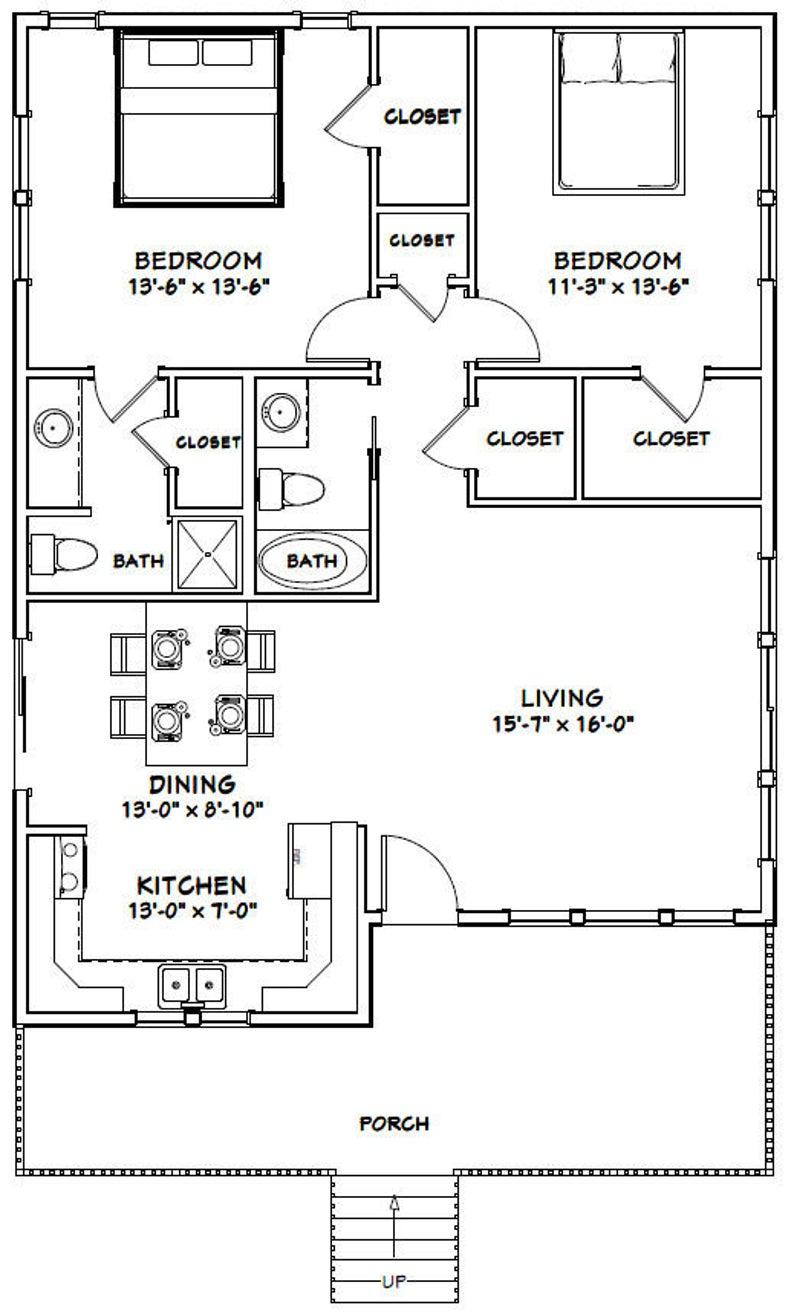 30x40 House 2 Bedroom 2 Bath 1 136 sq ft PDF Floor Plan Instant Download Model 1