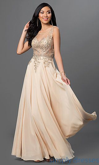 Shop sheer bodice long prom dresses with lace appliques at Simply ...