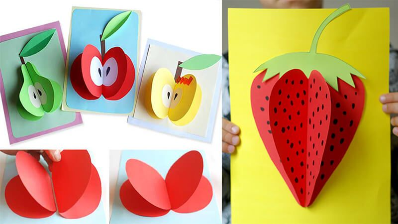 Открытка фрукты из цветной бумаги