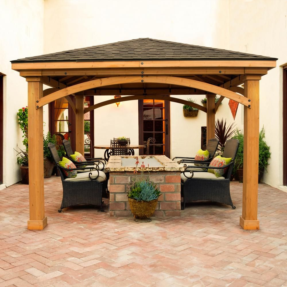 Best Lawnmaster Naples 12 Ft X 12 Ft Cedar Pergola Pavilion 400 x 300