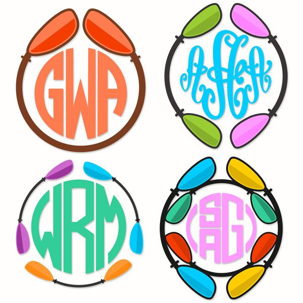 Kayak Paddle Boat Round Circle Frame Monogram Cuttable Design Cut File Vector Clipart