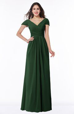 580e71be28c9c ColsBM Evie Hunter Green Glamorous A-line Short Sleeve Floor Length Ruching  Plus Size Bridesmaid Dresses