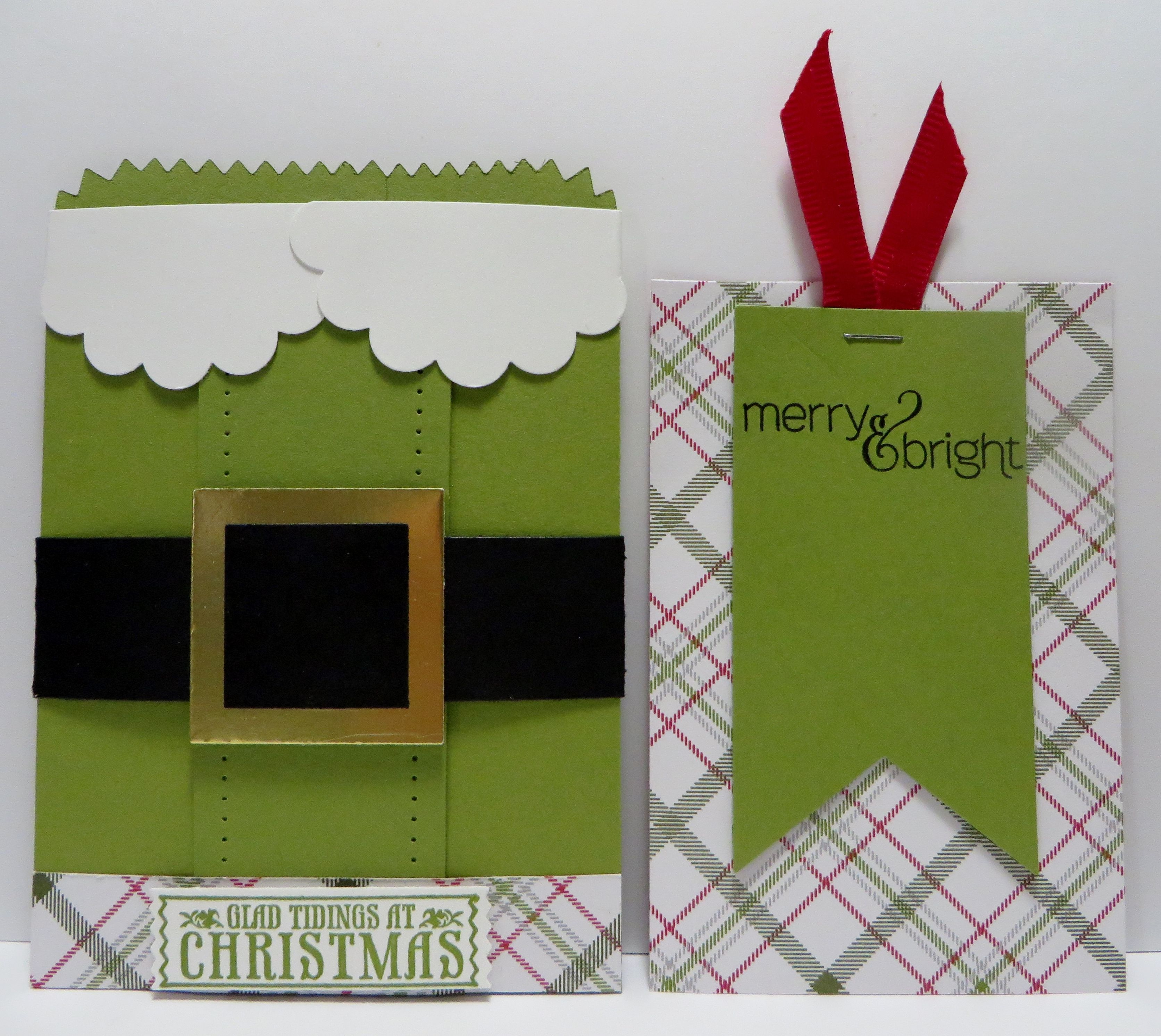 Stampin' Up Elf Mini Treat Bag with Note Card Insert made by Lynn Gauthier using SU Mistletoe & Holly Paper Pumpkin and SU Antique Tags Stamp Sets.  Go to http://lynnslocker.blogspot.com/2015/11/stampin-up-elf-mini-treat-bag-pocket.html for instruction on how to make this project.