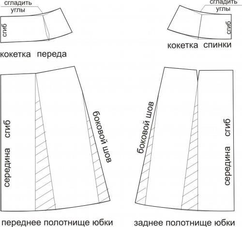 Раскрой юбки с запахом трапеция фото пример