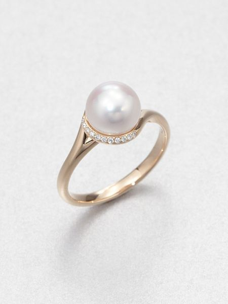 Mikimoto 8mm White Cultured Akoya Pearl Diamond 18k Rose Gold Ring Lyst Pearl Engagement Ring Pearl And Diamond Ring Rose Engagement Ring