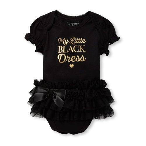 0c40328b7 Baby Girls Short Sleeve Foil 'My Little Black Dress' Tutu Graphic Bodysuit