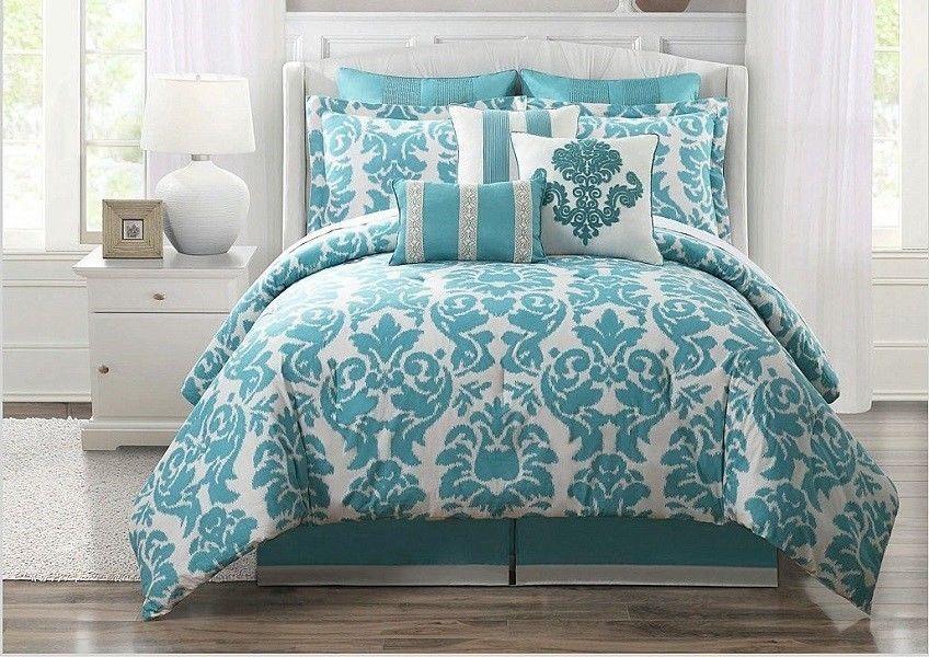 9 Piece Teal Turqouise Bed In A Bag Comforter Queen Bedspread Aqua