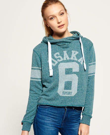 c485fd35b341f Osaka Sport Cropped Marl Hood | Products | Hoodies, Blue hoodie ...