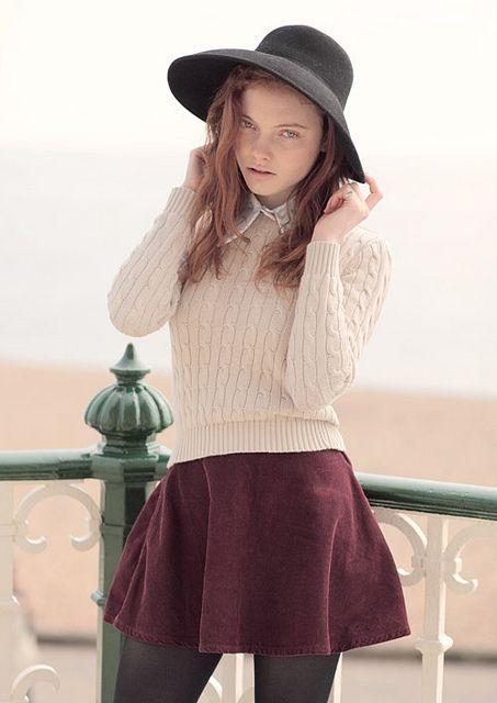 Purple skirt, cream sweater