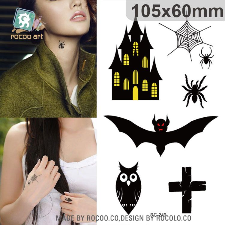 waterproof fake tattoo stickers halloween retro bats castle terror