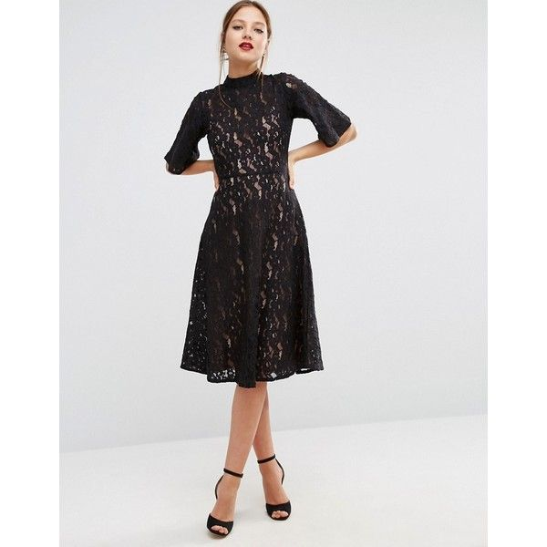 ASOS Kimono Sleeve Midi Skater Dress in Lace ($69) ❤ liked on Polyvore featuring dresses, black, long-sleeve skater dresses, lace fit-and-flare dresses, midi skater dress, lace sleeve dress and lace dress