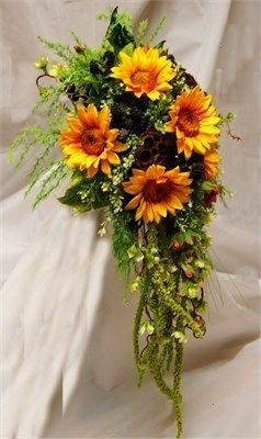 Sunflowers and Blackberries from Rose  Co Flowers  uk A very rustic formal teardrop Bouquet in silk Sunflowers Blackberries lotus seed heads AmaranthusSilk Sunflowers and...